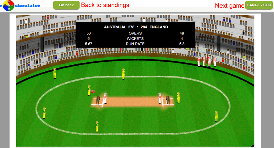 cricket simulation view scores